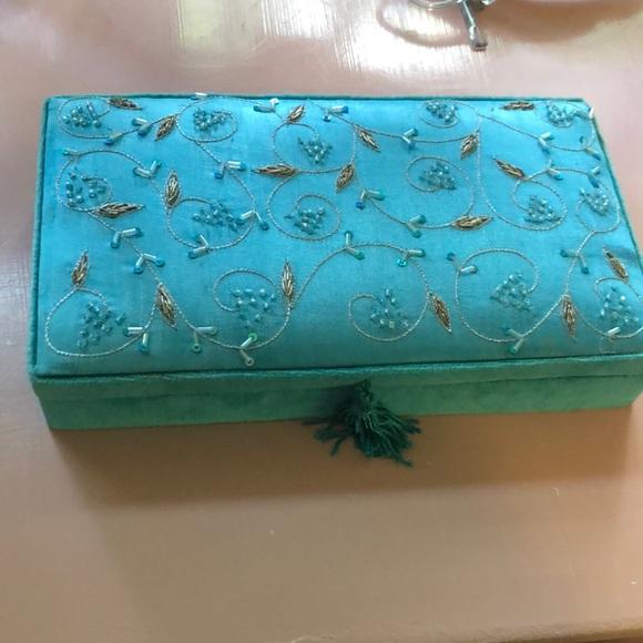 Blue velvet beaded ring storage box